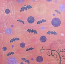 "12""X12"" Scrapbook Paper Double Sided Embossed Glitter Halloween Bats"