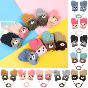 0-3 Years Old Cartoon Baby Boys Girls Gloves Winter Thick Warm Knitted Mittens