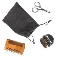 Men's Beard Care Grooming Kit Travel Facial Hair Trimming Set with Pouch 3 Piece