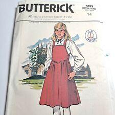 Dress Bib Jumper Blouse Top 14 Girls 6829 Butterick Sewing Pattern J.G Hook Vtg