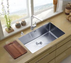 LARGE Handmade Single Bowl Stainless Steel Undermount Kitchen Sink 70x45x22cm