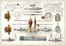 #10194 Angel Angler Fischer Fischen Köder Angelschnur Haken Reuse Netz 1890