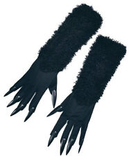 LADIES WOMAN SEXY LONG BLACK FURRY CAT GLOVES & CLAWS HALLOWEEN FANCY DRESS NEW