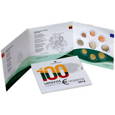 2018 LITHUANIA 100TH ANNIVERSARY OF THE STATE BU EURO COIN SET WITH A COMMEMORAT