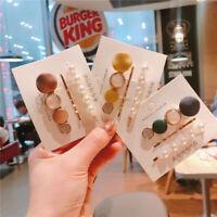 3pcs/set Girl Korean Cute Matte Pearl Crystal Hairclip Set Hair Clip Hairpins