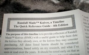 Wickersham - Randall Knives Timeline Knife Reference Guide - Revised 4th Edition