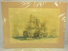 Antique 1905 Naval Battle Print The Battle of Trafalgar William Lionel Wyllie