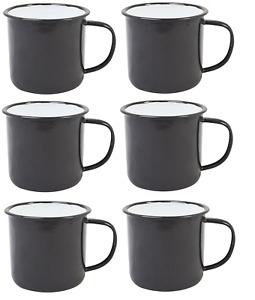 🔥 BLACK Enamel Mugs Cups Retro Camping Outdoor Coffee Tea Mug Cup 350ml x 6