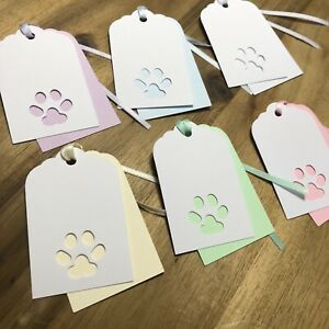 6 Handmade Pet Paw Print Double Layered Pastel Coloured Gift Tags - Cat or Dog