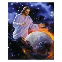 Diy Diamond Painting Cross Stitch Jesus Protect Earth Christian God Full Sq F1C1