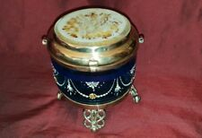 Bohemian Moser Enamelled Glass Trinket Pot with Brass feet - circa 1880s