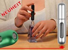 NEUHEIT Parfümzerstäuber LEER Parfum Flasche Flakon für Taschenparfum 5ml SILBER