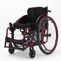 "24"" Lightly Folded Portable Athletic Wheelchair Disabled trolley Aluminum alloy"