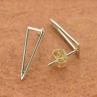 Geometric Long Skinny Triangle Stud Studs Post Earrings - Sterling Silver .925