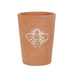 Small Bee Patterned Terracotta Plant Pot, Single Bee, 11cm in Height