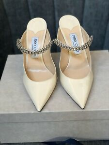 Jimmy Choo BING 100  Linen Patent Leather Mules with Crystal Strap