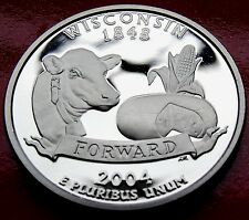 .900  SILVER Proof Strike  USA   2004 S Wisconsin Quarter Strong with HOLDER