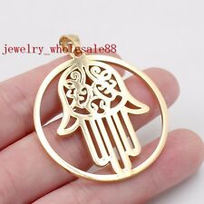 Gold Stainless Steel 1.8'' religion Hamsa Hand design Good Luck Pendant Charms