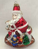 Collectible Christmas Santa on Rocking Horse Glitter Glass Ornament 5.5in x 4in