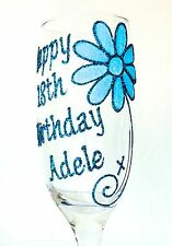Personalised 18th Birthday Gifts Wine Glass Prosecco Flute Daisy 21st 30 40 50