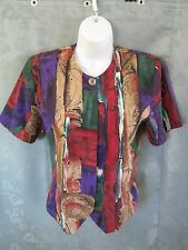 Vintage 90's Petite Sophisticate Size Ps Collarless Blouse Abstract Print