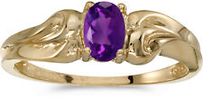 10k Yellow Gold Oval Amethyst And Diamond Ring (CM-RM1037-02)