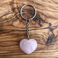 Natural Rose Quartz Heart Crystal Keyring 25mm Love Healing Gemstone
