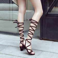 Womens 6.5cm Block Heel Strappy Hollow Out Roman Sandal Boots Knee High Shoes @