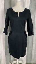 Hugo Boss Orange Black Cotton Corduroy Panel Pocket Shift Dress Size UK 8