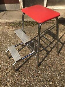 Vintage BRABANTIA Folding Kitchen Step Stool With Red Vinyl Seat