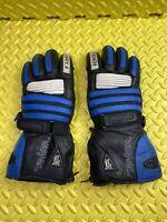 AKITO BlackBlue & White Leather Motorcycle Motorbike Biker Gloves Size L