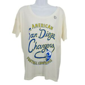 Junk Food NFL San Diego Chargers Football T-shirt Ivory Blue Yellow size Large