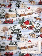 "Christmas Barn Sleigh House Cotton Fabric Scenic Wilmington Sleigh Ride - 19"""