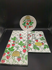 Vtg lot Hallmark Strawberry Party Supplies Plates Table Cover & Card Table Cloth