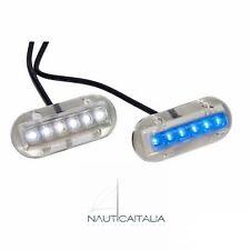 FARETTO SUBACQUEO 6 LED LUCE BLU 12V - PLANCETTA BARCA GOMMONE - L4406536
