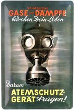 Gasmaske Atemschutzgerät Schild geprägt 20 x 30 cm Reklame Retro Blechschild 288