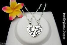 2 x Silver Best Friends Linking Love Heart Charm Pendant Necklaces 56cm