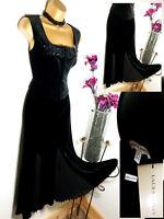 NEW Gorgeous LAURA ASHLEY Black Velvet Devore Pleat Panel Long Maxi Skirt 12