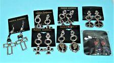 "Lot of 7~BIG Fashion Earrings~2"" Dangling~Iron Cross~Cameo~Peace Sign~ CLOISONNE"