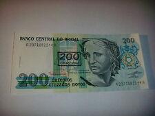 BILLET  DE  200  CRUZADOS  NOVOS  DU  BRESIL  DES  ANNEES  1990   NEUF