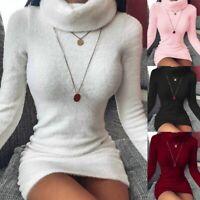 Women Turtleneck Knitted Jumper Dress Ladies Long Sweater Top Mini Bodycon Dress