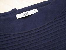 EDC Esprit Pullover Gr. S (36) kurzarm halbarm dunkelblau mit Streifenstruktur
