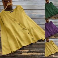 ZANZEA Women Casual Loose Blouse Tee T Shirt V Neck Plain Basic Long Sleeve Tops