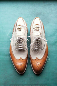 Men's handmade cognac and cream leather wingtip shoes.Two tone leather shoes.