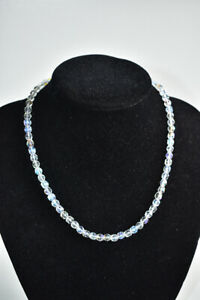 Vintage Clear Aurora Borealis Faceted Beaded Necklace