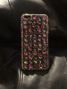 Iphone 6s Plus Tear Drop Rhinestone Case Handmade Size 5.5 Gray & Strawberry