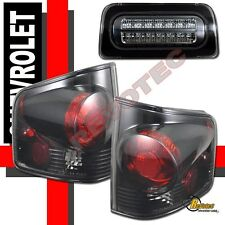 94-04 Chevy S10 Pickup GMC Sonoma Truck Tail & LED 3rd Brake Lights Dark Smoke