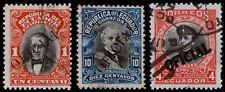 Ecuador Scott O107, O111, O131 (1913, 1916) Used H F-VF, CV $8.90