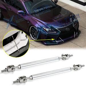 New Silver Chrome Adjust Bumper Lip Splitter Strut Rod Tie Support Bars Assy Kit