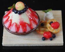 Dollhouse Miniatures Strawberries Bingsu Ice Shavings Korean Dessert Food Deco